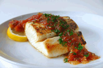 Pan-Seared Halibut with Spicy Tomato Chutney